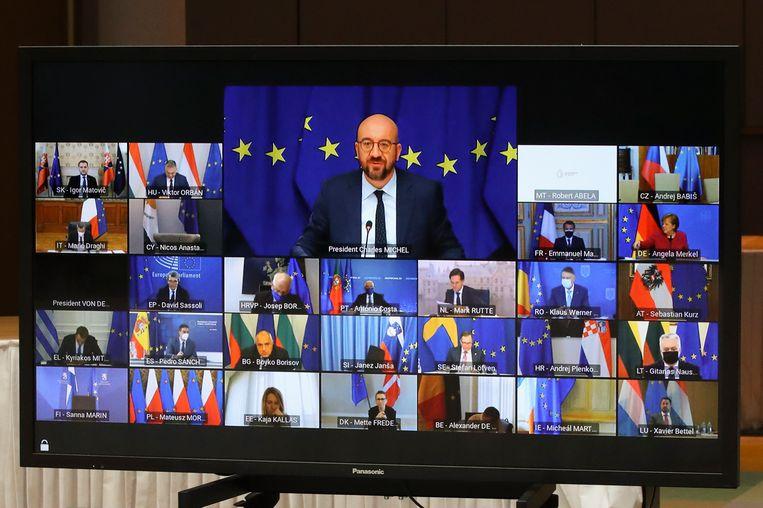 De Europese Raad vergadert al digitaal. Beeld EPA