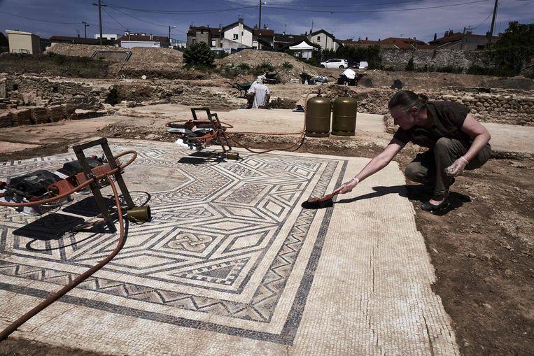 Een van de mozaïekvloeren die gevonden zijn op de archeologische site bij Vienne. Beeld AFP