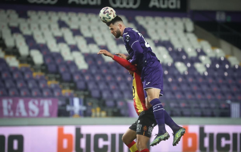 Elias Cobbaut in de match tegen KV Mechelen, afgelopen zondag. Beeld BELGA