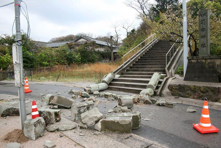 Aardbevingsschade in de stad Ohda in de prefectuur Shimane.