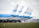 Geparkeerde KLM-toestellen in mei vorig jaar.