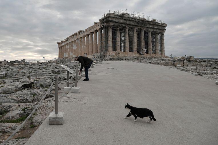 Het vernieuwede, gewraakte pad voor de Akropolis.  Beeld Hollandse Hoogte / EPA