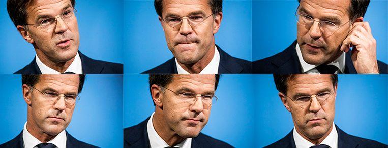 Premier Rutte tijdend de wekelijkse persconferentie na afloop van de ministerraad.  Beeld Freek van den Bergh / de Volkskrant