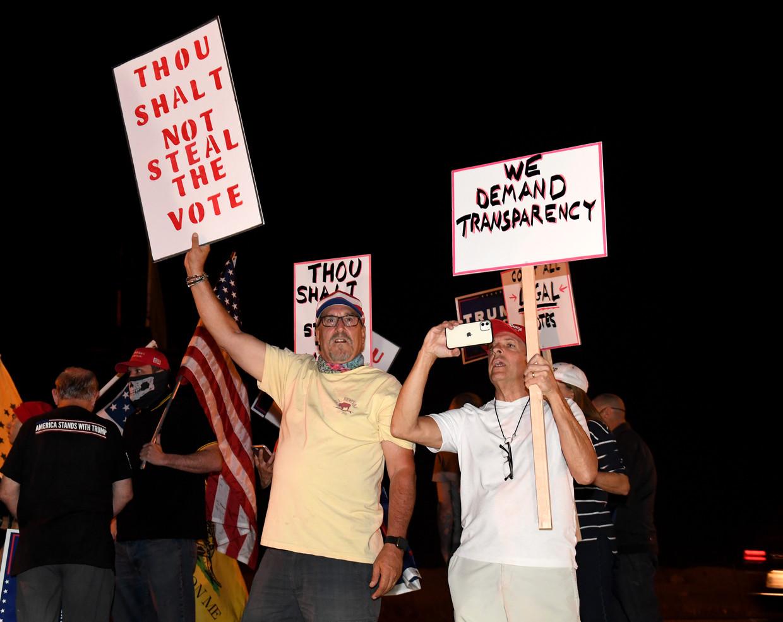 Trump-aanhangers demonstreren in Nevada Beeld Getty Images
