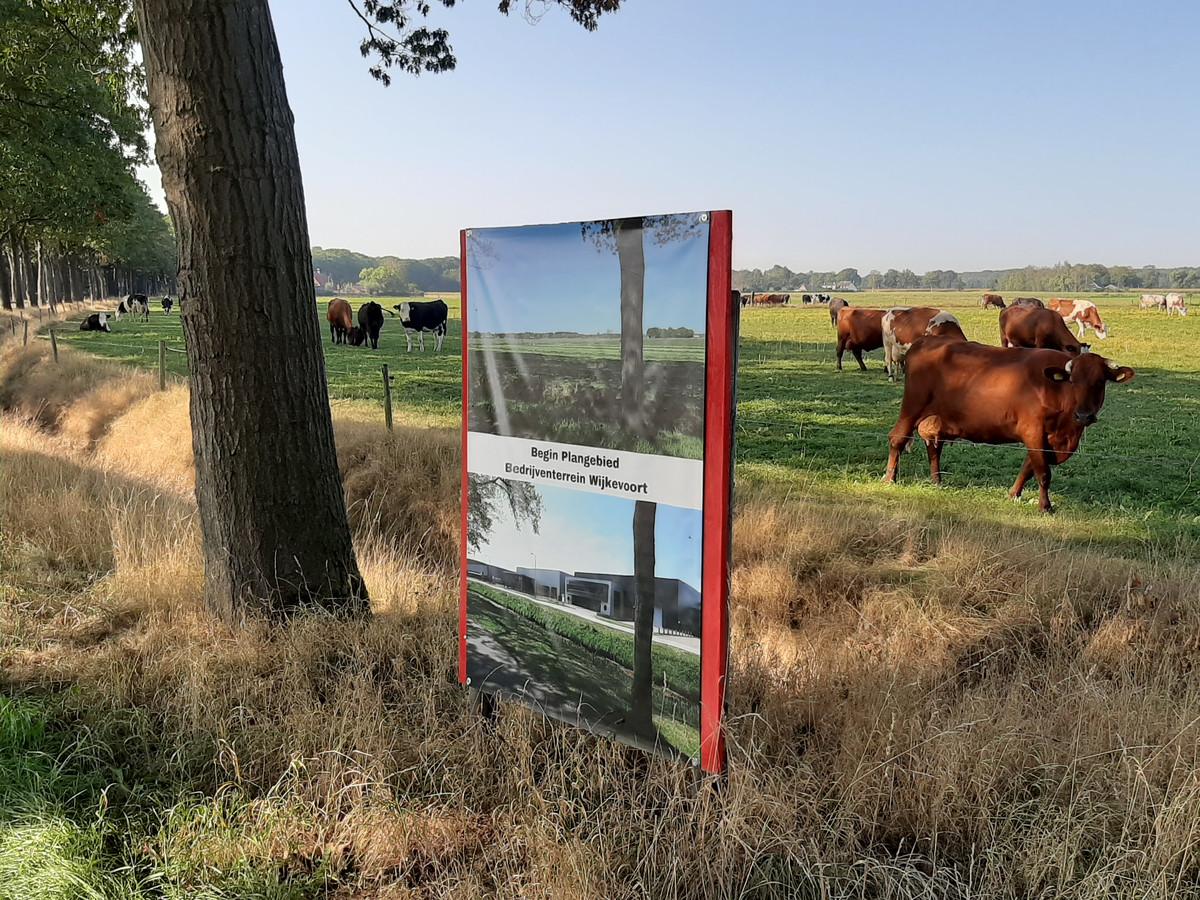 Deel van het plangebied voor bedrijventerrein Wijkevoort, aangeduid door omwonenden die tegen de aanleg zijn.