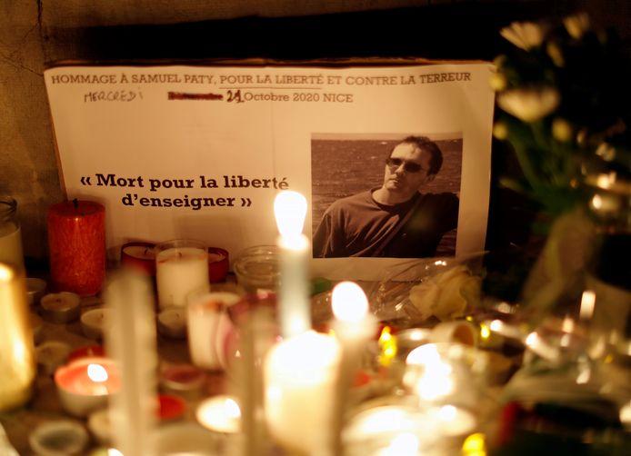 Een eerbetoon aan Samuel Paty in Nice.