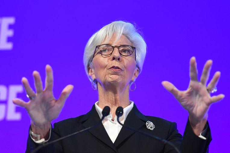 Christine Lagarde, voorzitter van de Europese Centrale Bank. Beeld EPA