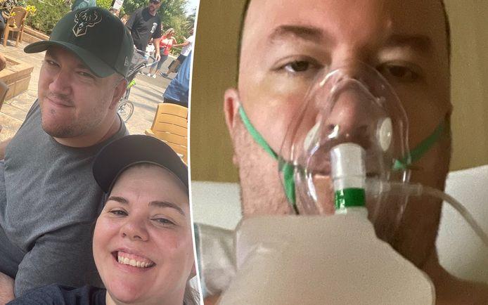 Jessica DuPreez en haar verloofde Mike Freedy. Rechts Mike in het ziekenhuis.