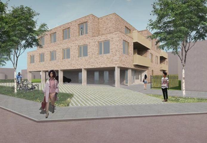 Impressie van het nieuwe appartementencomplex in Hoogland.