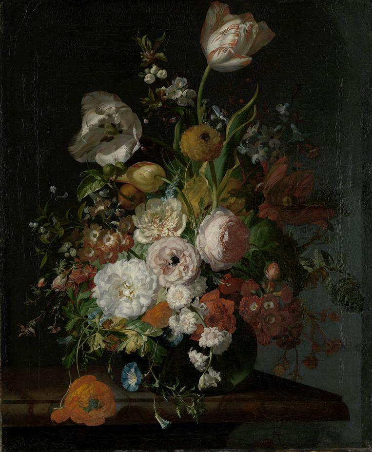 Stilleven met bloemen in een glazen vaas, Rachel Ruysch, ca. 1690 - ca. 1720. Beeld Het Rijksmuseum