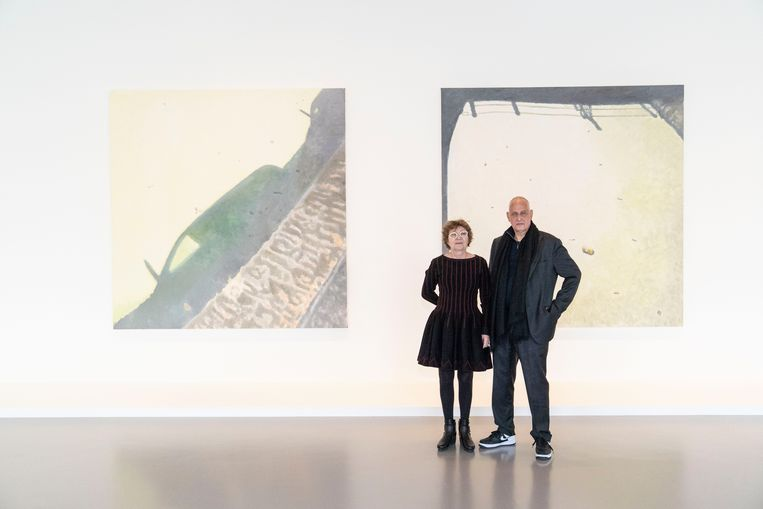 Luc Tuymans met co-curator Caroline Bourgeois.  Beeld RV