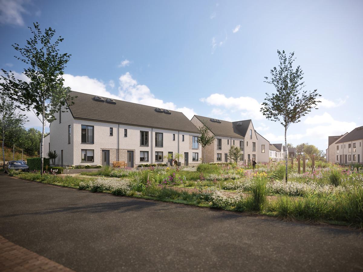 Impressie van de nieuwbouwwijk Plateau, onderdeel van Blixembosch Buiten in Eindhoven. De verkoop van de woningen is gestart.