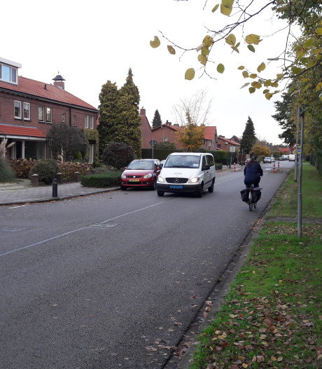 Minder ruimte voor auto's, eigen stroken voor fietsers door woonwijk in Harderwijk