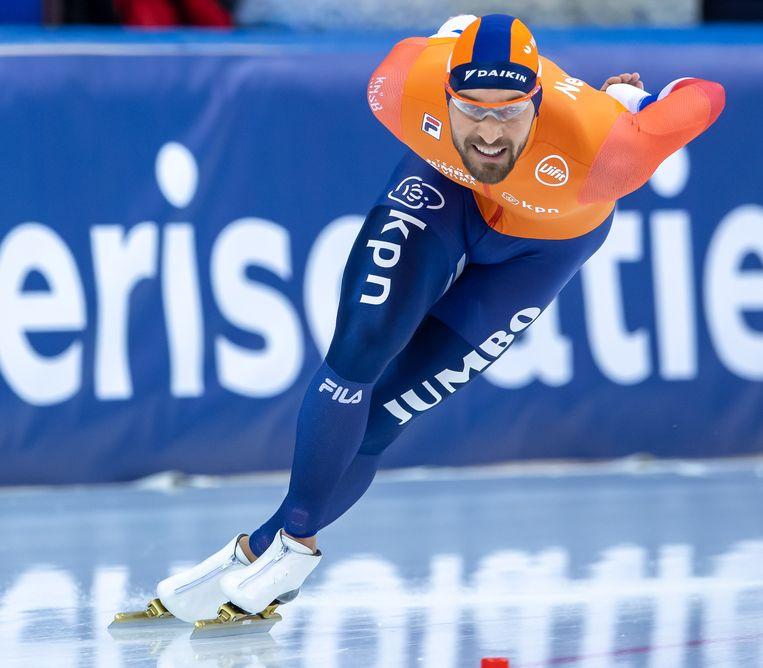 Kjeld Nuis schaatst de 1500 meter in Minsk.  Beeld BSR Agency