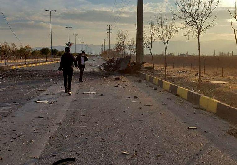 De auto van Fakhrizadeh werd in een voorstad van hoofdstad Teheran beschoten. Beeld AFP