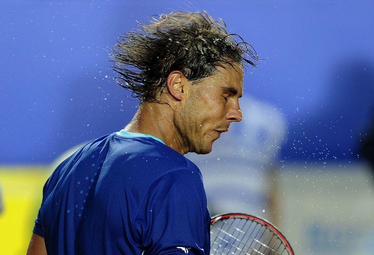 TOPSHOTS Spanish tennis player Rafael Nadal reacts after winning over Croatian tennis player Ivan Dodig during the ATP Barcelona Open