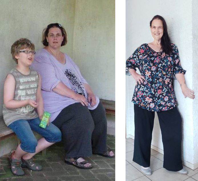 Links: Ilja, vlak voor haar infarct in 2019. Rechts: Ilja, na haar succesvolle ervaringen met een koolhydraatarm dieet.