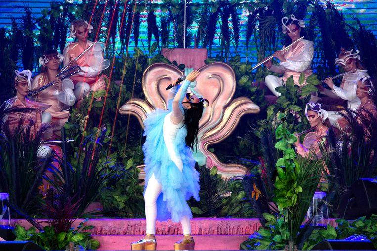 Björk op het Sint-Pietersplein. Beeld RV