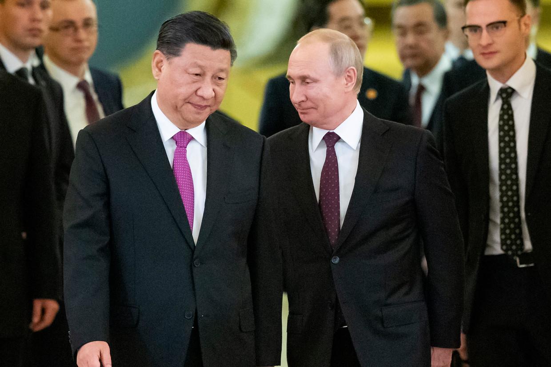 De Chinese president Xi Ping en de Russische president Vladimir Poetin ontmoetten elkaar in 2019 in Moskou. Beeld AP