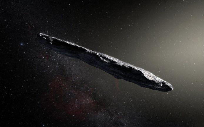 Een artist impression van Oumuamua op basis van de ontdekking in 2017.