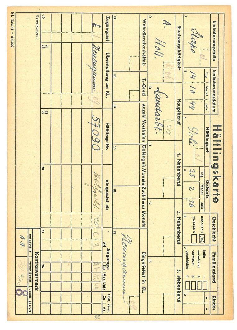 De gevangenenkaart van Jan uit concentratiekamp Neuengamme. Met onder meer: datum van binnenkomst, kampnummer (57090), type gevangene (politiek), land van herkomst. De code C3 is de afkorting voor 'Abgang durch Tod'. Beeld Bron: Bundesarchiv Berlin
