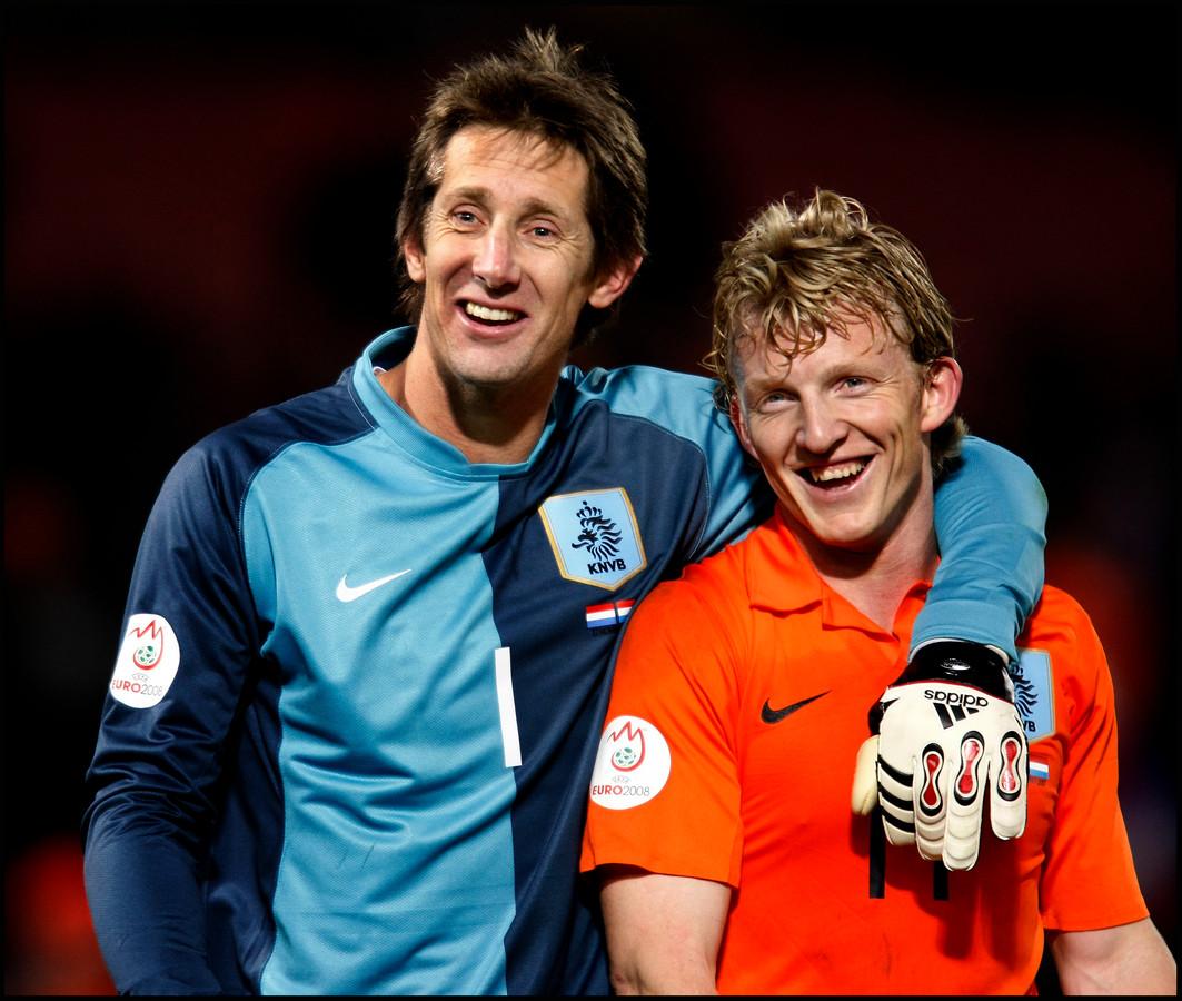 Edwin van der Sar en Dirk Kuijt.