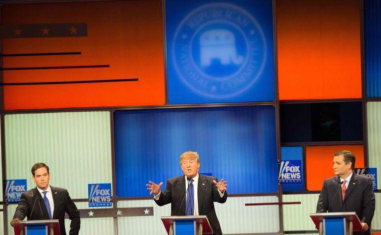 Marco Rubio, Donald Trump en Ted Cruz in de nacht van donderdag op vrijdag in debat. Beeld afp