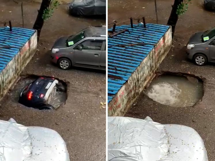 Auto in India verdwijnt razendsnel in zinkgat
