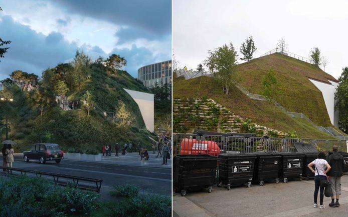 """""""Marble Arch Mound"""": à gauche la simulation, à droite la réalité."""