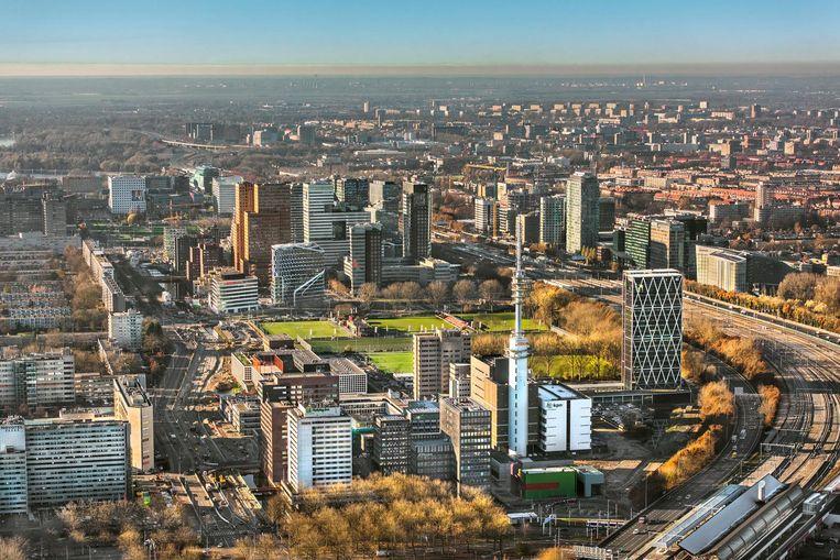 2016-11-29 15:13:20 AMSTERDAM - Luchtfoto met overzicht van kantoorpanden op de Zuidas in Amsterdam Zuid. ANP JOHN GUNDLACH Beeld anp