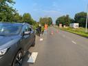 Groot gat langs de weg