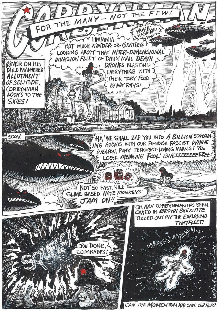 Een pagina uit 'Corbynman', de strip die Martin Rowson maakte voor 'The Corbyn Comic Book'. Beeld SelfMadeHero