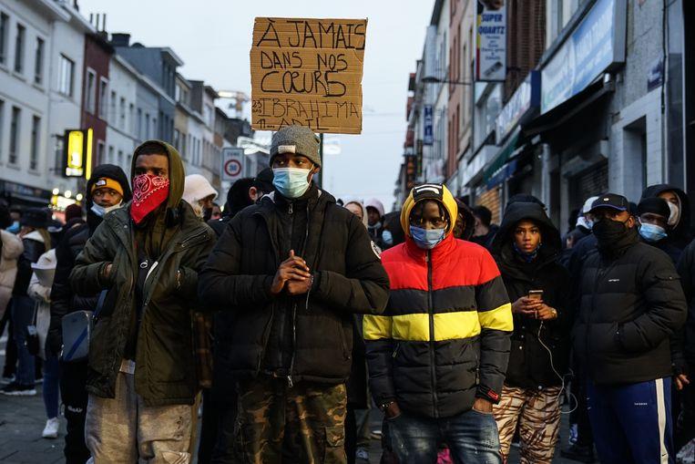 Een protest in Brussel op 13 januari, nadat Ibrahima Barrie om het leven was gekomen in een politiecel. Beeld Belga