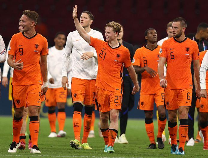 Oranje na de zege op Oostenrijk.