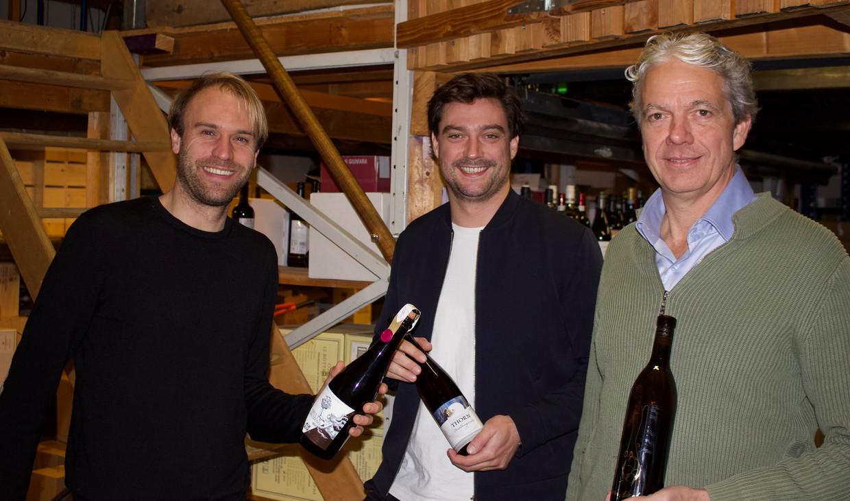 De mannen achter bob wijn: Richard Dietz, Roderick Meijer en Samir Doueiri. Beeld