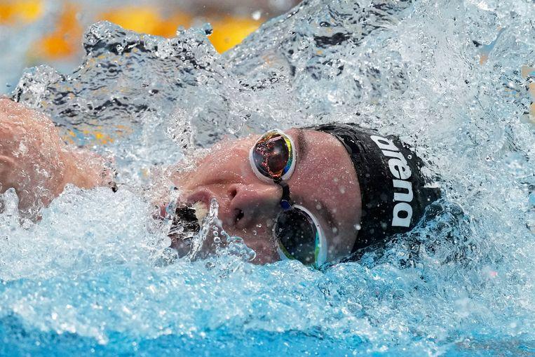 Femke Heemskerk in actie op de 100 meter vrije slag. Beeld AP