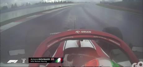 Giovinazzi en Russell crashen al in warming-up GP Turkije