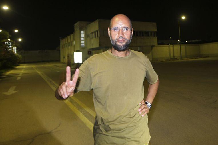 Kadhafi's zoon Saif al-Islam blijkt toch niet gevangengenomen. Beeld AFP