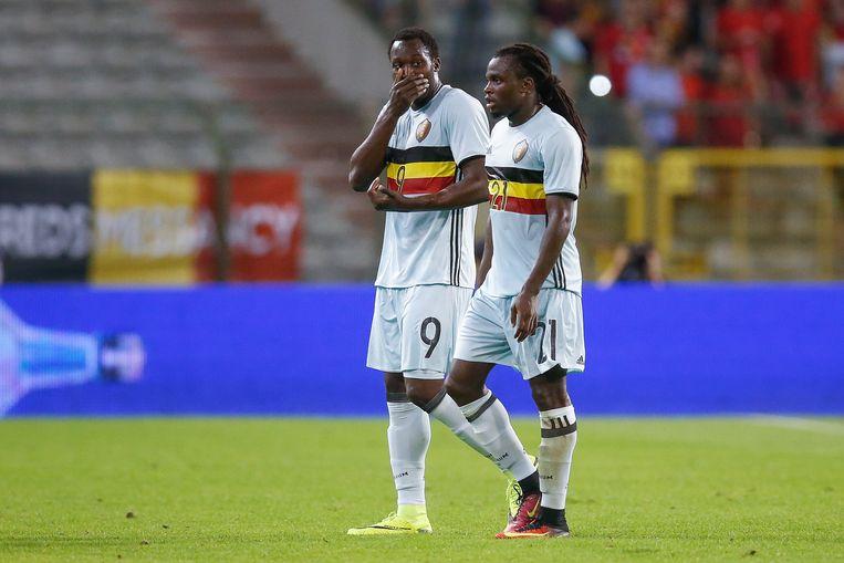 Belgium's Romelu Lukaku and Belgium's Jordan Lukaku look dejected after a friendly match between Belgian national soccer team Red Devils and Spain, on Thursday 01 September 2016, in Brussels. BELGA PHOTO BRUNO FAHY Beeld null