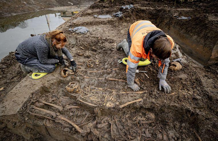 Archeologen aan het werk bij het massagraf in een gedempte gracht in Vianen, dat op 24 november werd ontdekt. Beeld EPA