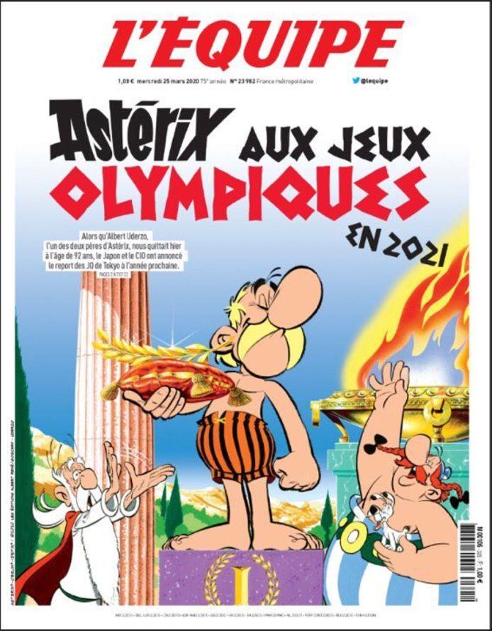 Astérix en Une de l'Equipe pour illustrer le report des Jeux Olympiques.