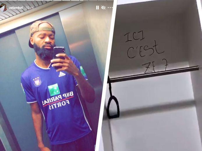 Lamkel Zé, met shirt van Anderlecht. In de namiddag bekladde hij de muren van de kleedkamer.