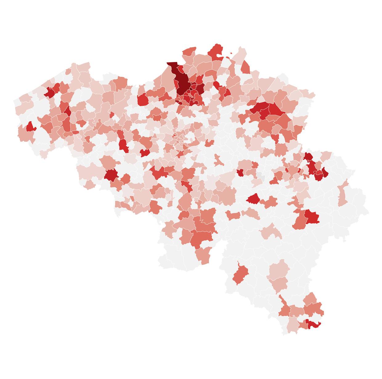 Hoe roder de kleur, hoe hoger het aantal gevallen per 100.000 inwoners in uw gemeente. Beeld DM