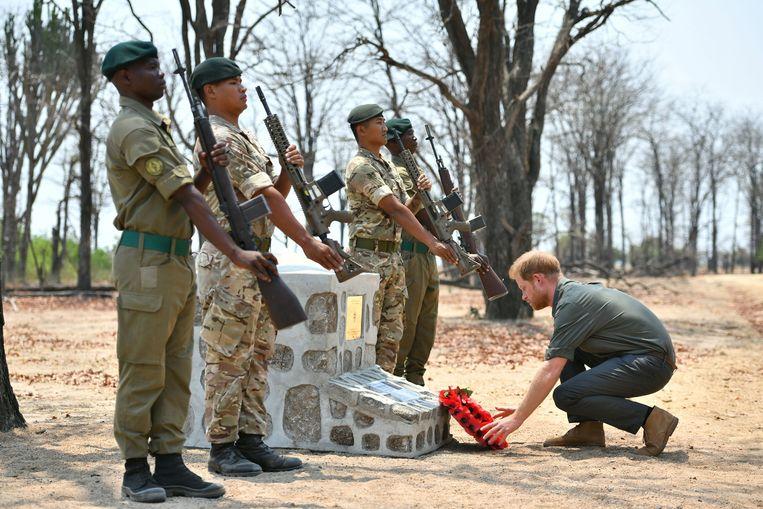 Prins Harry heeft een eerbetoon gebracht aan een jonge Britse soldaat die tijdens een operatie tegen stropers in een nationaal park in Malawi werd vertrappeld door een olifant.