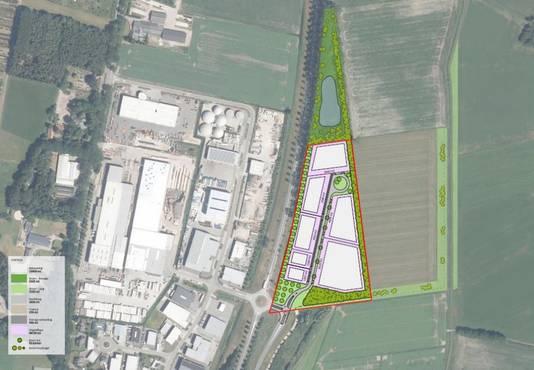 Mierbeek-Oost, rechts ingetekend. Aan de linkerkant van de N269 ligt het bestaande industriegebied Mierbeek.