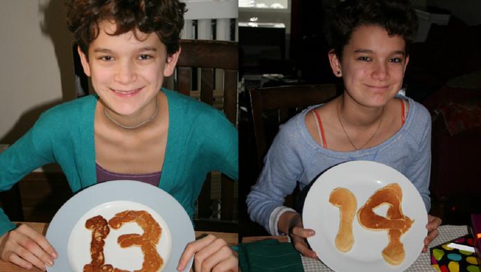 Milo op zijn dertiende en veertiende verjaardag.