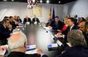 Mark Rutte op de klimaattop in Madrid omringd door onder anderen de Spaanse premier Pedro Sanchez (vierde van rechts), voorzitter Charles Michel van de Europese Raad (vijfde van rechts), voorzitter Ursula von der Leyen van de Europese Commissie (in het rood) en de Franse premier Edouard Philippe (rechts).