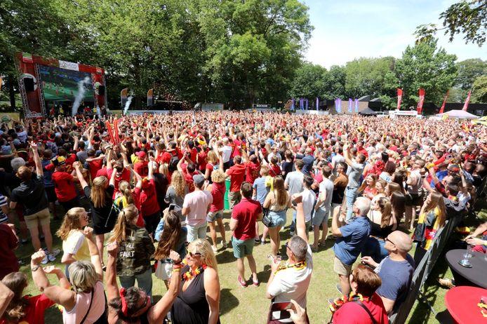Een sfeerbeeld van het Duivels Park tijdens een vorig groot toernooi van de Rode Duivels