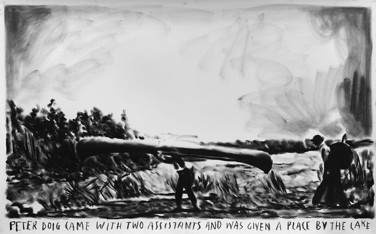 Rinus Van de Velde, 'Peter Doig came with two assistants and was given a place by the lake' (2016). Charcoal on paper, 66 x 105 cm, 18.000 euro excl. BTW. Beeld Courtesy Tim Van Laere Gallery, Antwerp