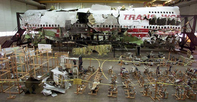 Het wrak van het ontplofte vliegtuig. Beeld AP